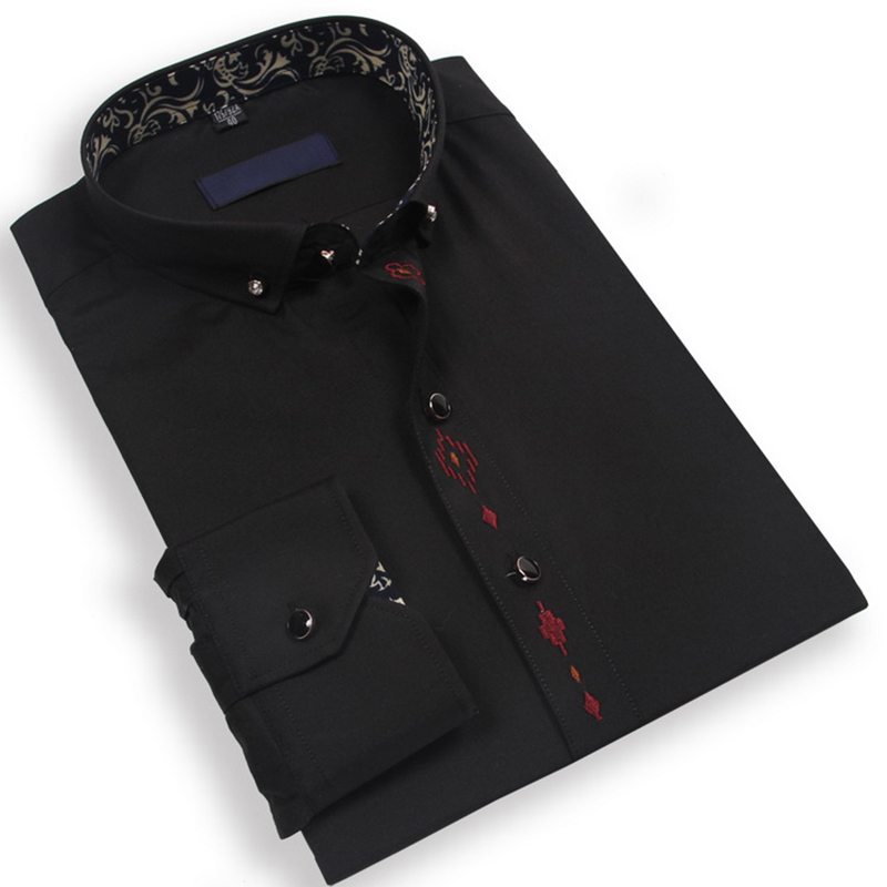 Men Shirt With Embroidered Pattern