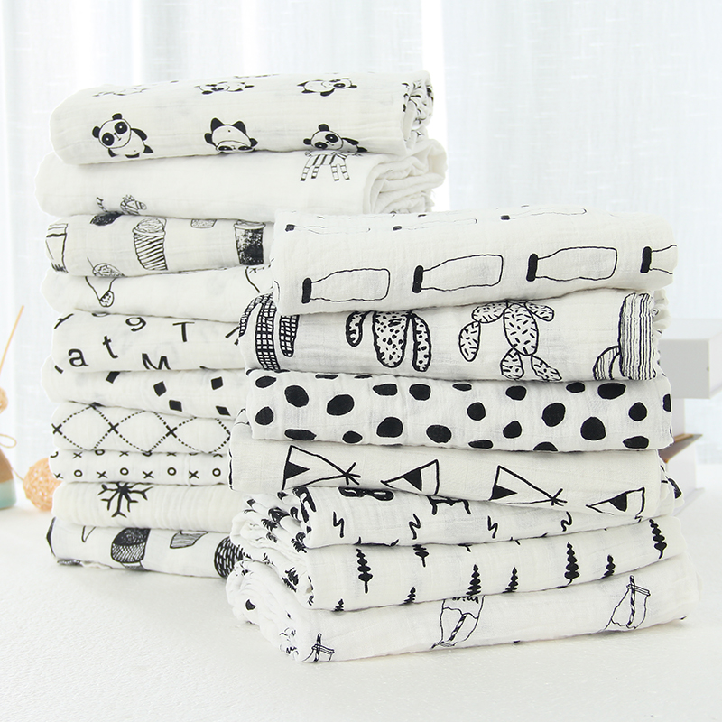 White Muslin Swaddle Baby Blanket